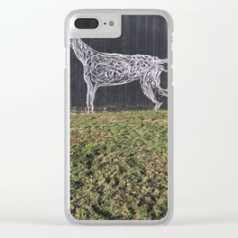 Tel Aviv Walls - Dog Graffiti Black and White Clear iPhone Case