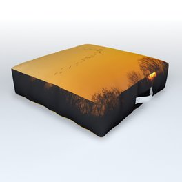 Sunset and cranes natural landscape from France Outdoor Floor Cushion