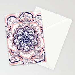 Woven Dream - Mandala in Pink, White and deep Purple Stationery Cards