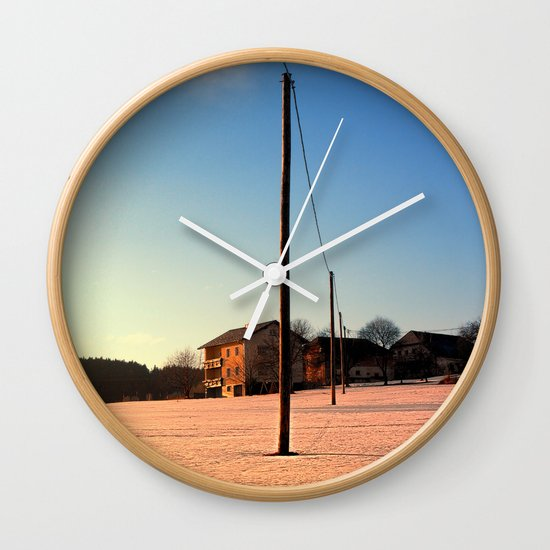 Powerline, sundown and winter wonderland | landscape photography Wall Clock
