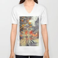 takmaj V-neck T-shirts featuring WINTER IN THE CITY by takmaj