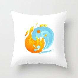 Fire And Water Harmony Yin Yang Mandala Zen Gift Throw Pillow
