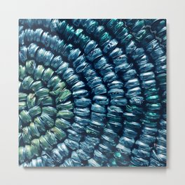 Basket Weave Texture in Blue and Green Metal Print