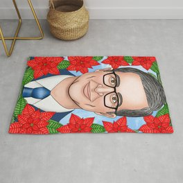 John Oliver portrait with poinsettia Rug