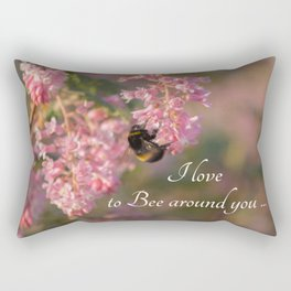 Nature bee on pink flowers with a beautiful quote Rectangular Pillow