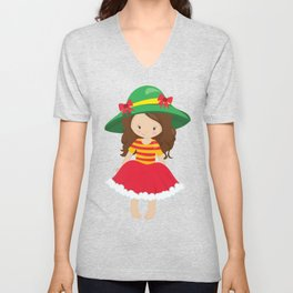 Cute Girl, Brown Hair, Red Skirt, Green Hat Unisex V-Neck