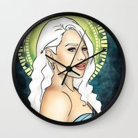mother of dragons Wall Clocks featuring Mother of Dragons by CatAstrophe