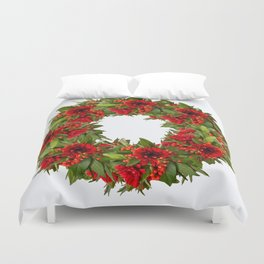 Red And Green Wreath On A White Background - Arrangement Of Flowers And Berries #decor #society6 Duvet Cover