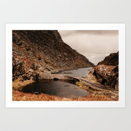 Old bridge over lake in Ireland Art Print