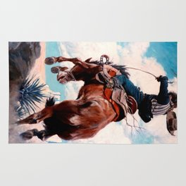 "Vintage Western Painting ""Bucking"" by N C Wyeth Rug"