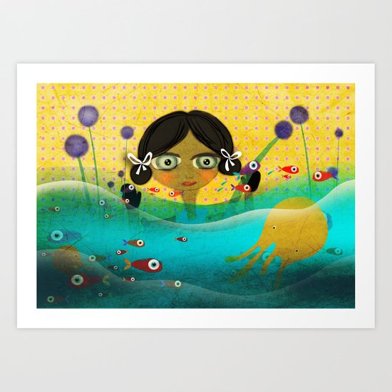 Fishes surfing lovely Doll Art Print