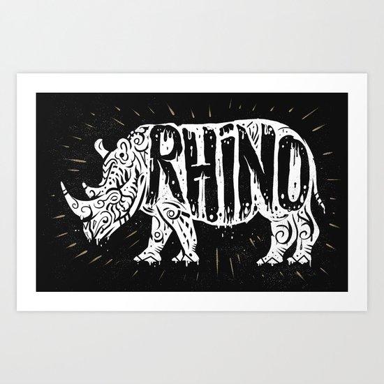 Rino Tribe Art Print