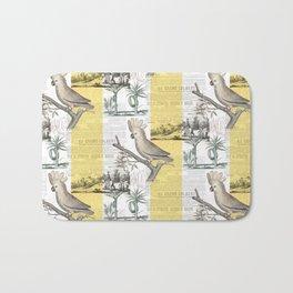 Vintage Tropical Cockatoo Pattern Bath Mat