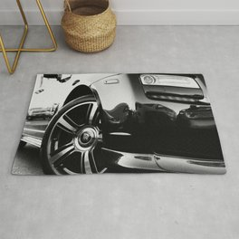Rolls Rims // Black and White Luxury Super Car Photography Real Life Street Shots Rug