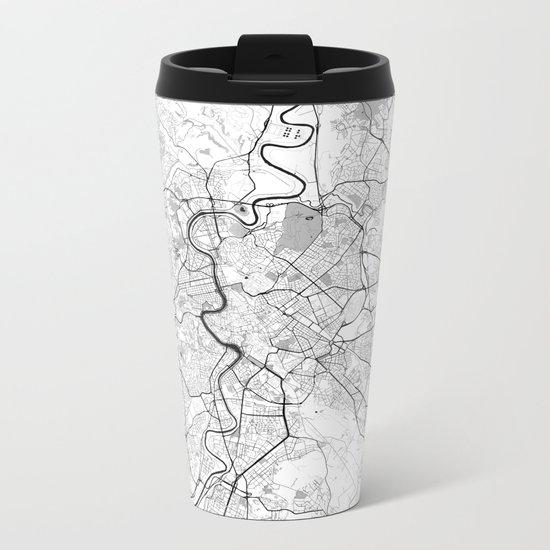 Rome City Map Gray Metal Travel Mug