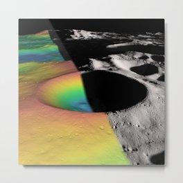 Rainbow Moon Craters Metal Print