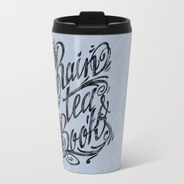 Rain, Tea & Books - Black lettering only Travel Mug