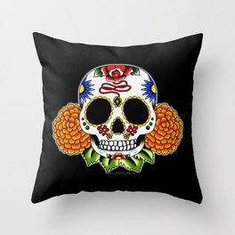Day of the Dead Flash   Sugar Skull  Throw Pillow
