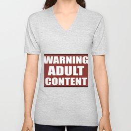Warning adult content red sign Unisex V-Neck