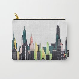 American City Skyline With Buildings And Skyscrapers Carry-All Pouch