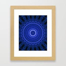 Dark blue mandala Framed Art Print