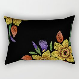 Embroidered Flowers on Black Corner 05 Rectangular Pillow