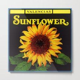Vintage Yellow Orangedale Sunflower Crate Decorative Art Label Poster Metal Print