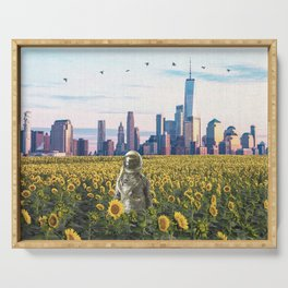 Astronaut in the Field-New York City Skyline Serving Tray