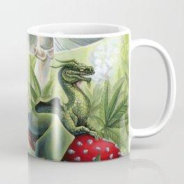 Smoking Dragon in Cannabis Leaves Coffee Mug
