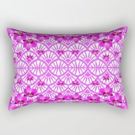 ABSTRACT PATTERNED PURPLE ART DECO  ORCHIDS Rectangular Pillow