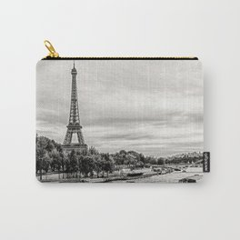 Eiffel Tower and boats on Seine river in Paris, France Carry-All Pouch