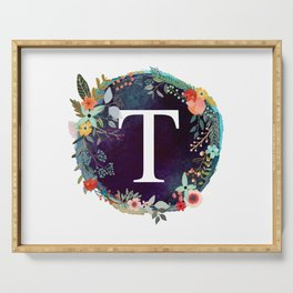 Personalized Monogram Initial Letter T Floral Wreath Artwork Serving Tray