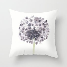 Botany 1: Dandelion Watercolor in Gray Throw Pillow