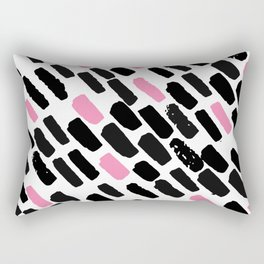 Oblique dots black and white pink Rectangular Pillow