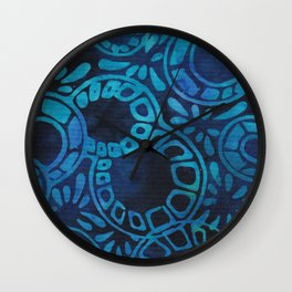 Blue Batik 09 Wall Clock