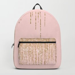 Luxury Blush Pink Gold Sparkly Glitter Fringe Backpack