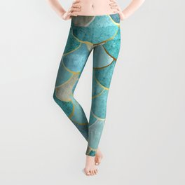 Moroccan Mermaid Fish Scale Pattern, Aqua,Teal Leggings