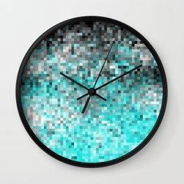 Aqua Gray Pixels Wall Clock