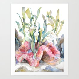 White Calla Lily and Corals Seaweed Watercolor Surreal Botanical Underwater Art Print