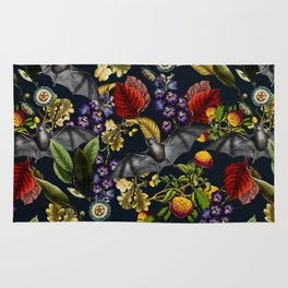Flying Fox and Floral Pattern Rug