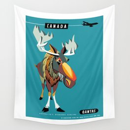 1952 CANADA Moose Qantas Airline Poster Wall Tapestry