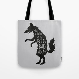Who's Afraid of the Big Bad Wolf - Three Little Pigs Art Inspired Print Tote Bag