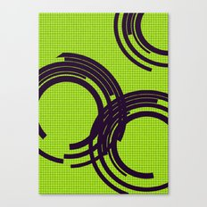 Black open rings on green Canvas Print