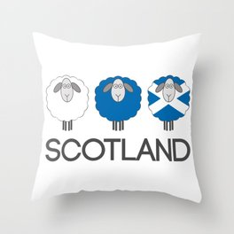 Trio of Scottish Patterned Sheep Throw Pillow