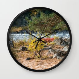 River and sandy beach in the forest in autumn Wall Clock