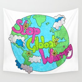 Stop Global Warming Wall Tapestry