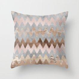 Rose Gold Chevron Glitter Glamour Marble Gem Throw Pillow