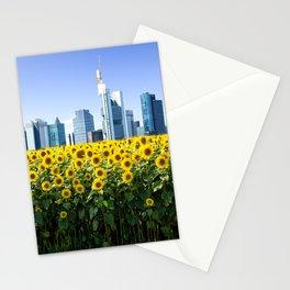 Frankfurt Germany Skyline Sunflower Field Stationery Cards