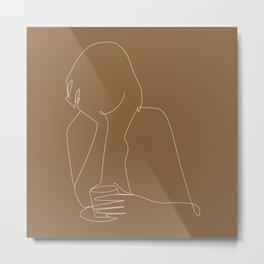 Line art abstract girl with coffee illustration Metal Print
