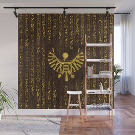Golden Egyptian Horus Falcon and hieroglyphics on wood Wall Mural